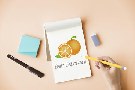 Illustration of fresh organic orange on note
