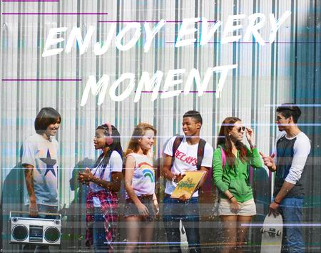 Enjoyment word overlay young people