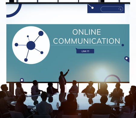 People connected with Illustration of social media online communication Imagens - 81205196