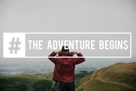 Adventute inizia dove è il concetto successivo Archivio Fotografico - 81135241