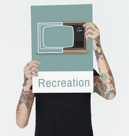 Illustration of recreation media entertainment TV on banner Reklamní fotografie