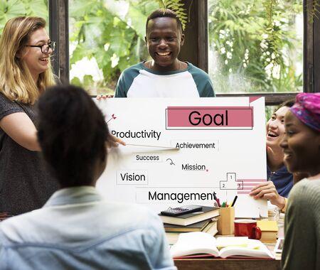 Bedrijfsstrategie plan doel afbeelding Stockfoto