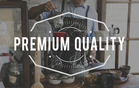 Coffee Drink Premium Quality Standard Word Stamp Banner Graphic