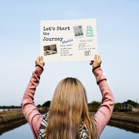 Start The Journey Travel Word Graphic Stock Photo