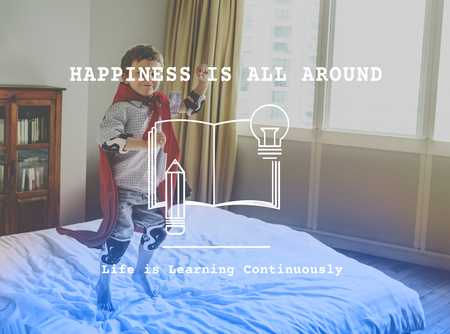 Little Boy with Happiness Time Word Graphic