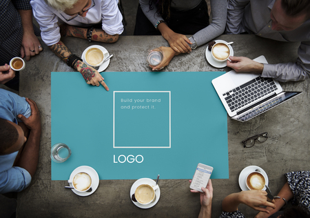Group of people design the identity branding business trademark Stock Photo