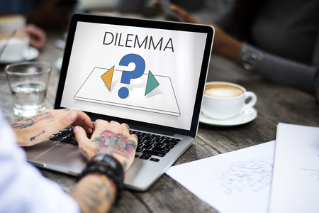 Dilemma confusion choose decision thinking Stock Photo