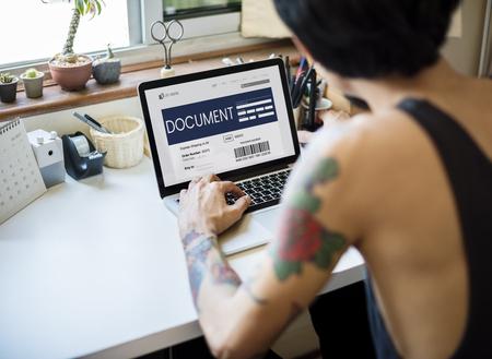 Man working on laptop network graphic overlay Stok Fotoğraf
