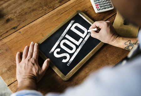 customer records: Sold out consumer commercial retail shop Stock Photo