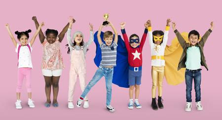 Diversity of Children Playful Cheerful Happiness Studio Isolated Stock Photo