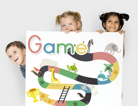 Illustratie van slang en ladder bordspel Stockfoto