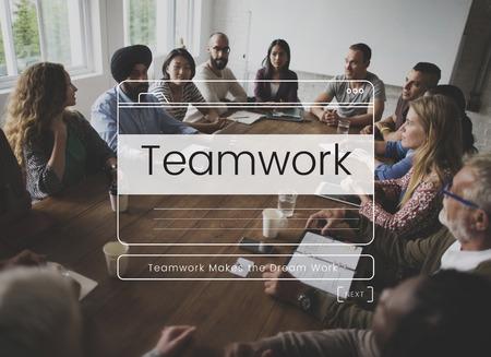 チームワーク パフォーマンス グループ ミッション メッセージ ウィンドウ グラフィック 写真素材