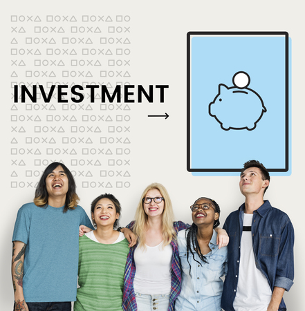 Group of people with illustration of economy financial planning piggy bank