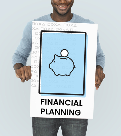 Man holding banner with illustration of economy financial planning piggy bank