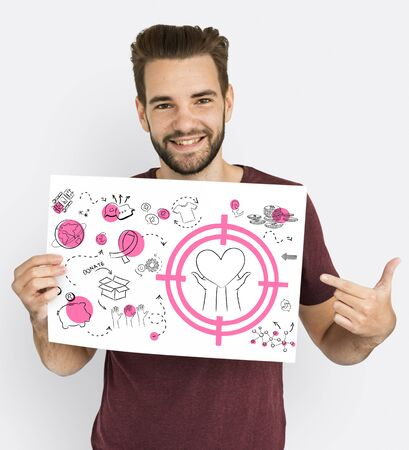 Man showing a placard with donation concept Stock Photo