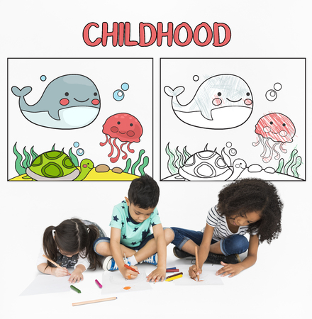 Children working on drawing pad network graphic overlay background
