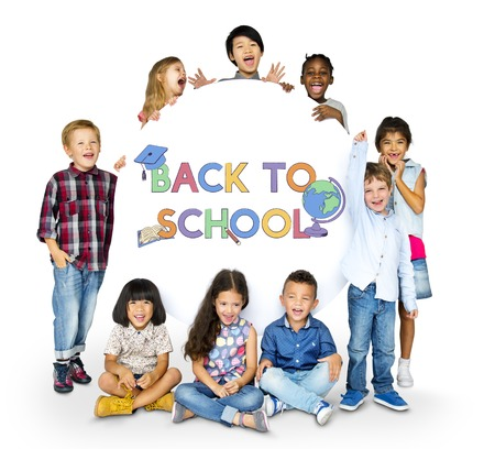 Educated children back to school Banco de Imagens