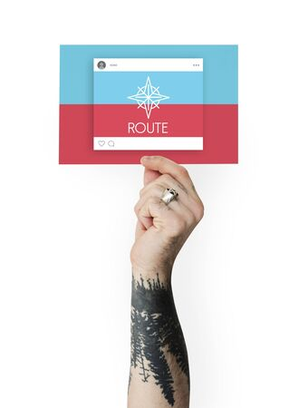 Hand Showing Direction Guide Navigation Route Map Word Graphic