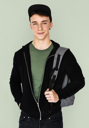 A teenager student guy with backpack Stock fotó