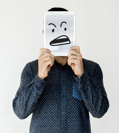 Illustration of aggressive madness face on banner Stock Illustration - 81149665