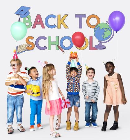 Educated children back to school Stok Fotoğraf