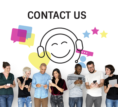 techie: Group of people with illustration of contact us online customer services Stock Photo