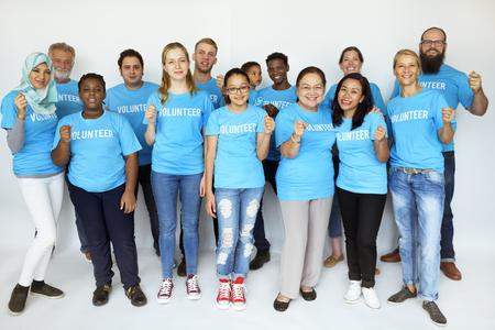 Group of volunteer people smiling together