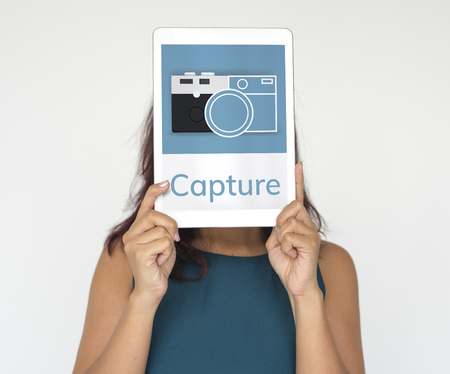 Illustration of camera collect the memories on digital tablet