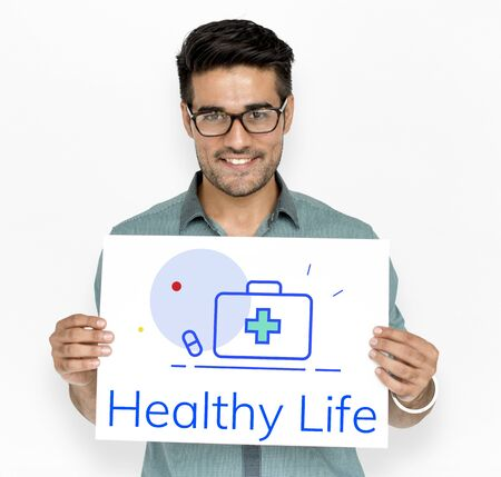 Healthcare Wellness Wellbeing First Aid Box Word Graphic