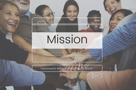 Teamwork Performance Group Mission Message Window Graphic Stock Photo