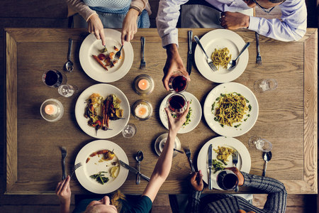 Friends Gathering Eating Food Together Happiness Stock Photo