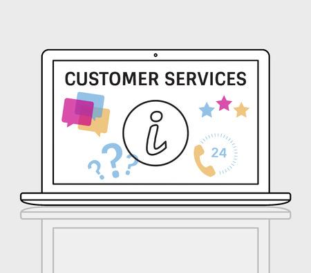 イラストのお問い合わせラップトップ上のオンライン顧客サービス 写真素材 - 81370977