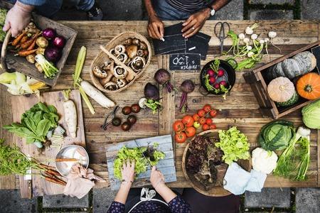 Aerial view of fresh organic various vegetable on wooden table 版權商用圖片