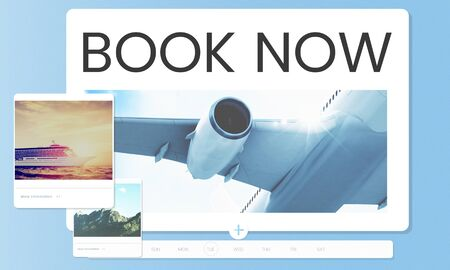 Illustration of air ticket booking for travel destination