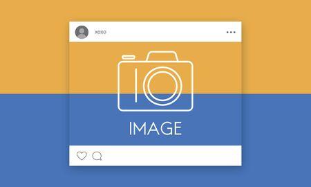カメラ アイコンのグラフィックとソーシャル メディア 写真素材