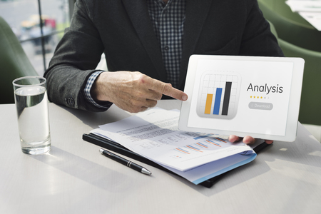 evaluate: Businessman with analysis business chart illustration