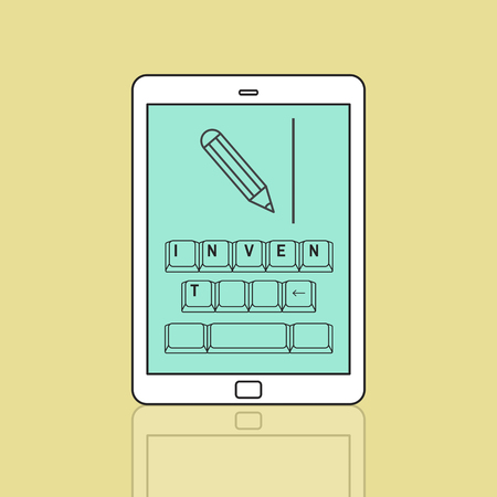 Invent on keyboard with pencil graphic Stock Photo