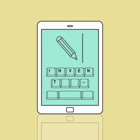 Invent op toetsenbord met potlood grafisch