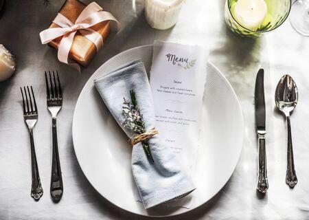 Ormate decoration for wedding ceremony romance dining Banco de Imagens