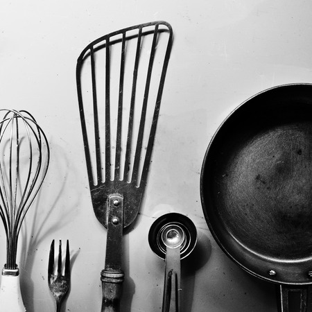Kitchenware equipment set in the row