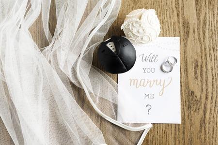 Will You Marry Me Proposing Card Marriage Banco de Imagens