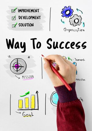 Way to success business plan sketch Banco de Imagens - 81495310