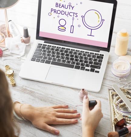 Illustration of beauty cosmetics makeover skincare on laptop Stock Photo