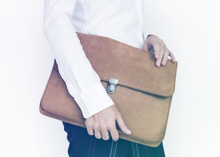 Hands Hold Formal Leather Folder Bag Stock Photo - 81374393