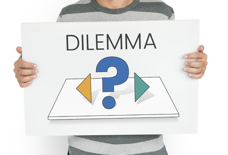 Dilemma confusion choose decision thinking Stock Photo