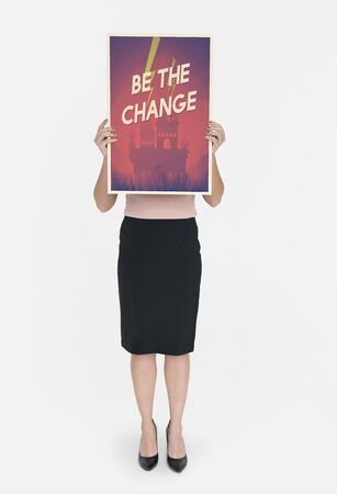 dare: Woman holding network graphic overlay banner