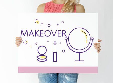 Frau, die Illustration der Kosmetikkosmetik-Umarbeitung skincare Fahne hält Standard-Bild - 81374846