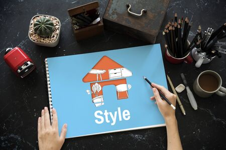Maison d'appartement Votre espace Décoration Style de rénovation Banque d'images - 81375179