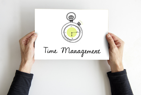 Illustration of stopwatch time management personal organizer Stock Photo