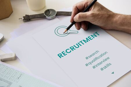 stationery needs: Employment Career Hiring Recruiting Conept Stock Photo